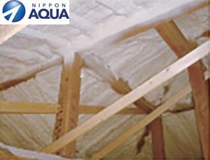 屋根・壁断熱:吹付け断熱(硬質ウレタンフォーム)